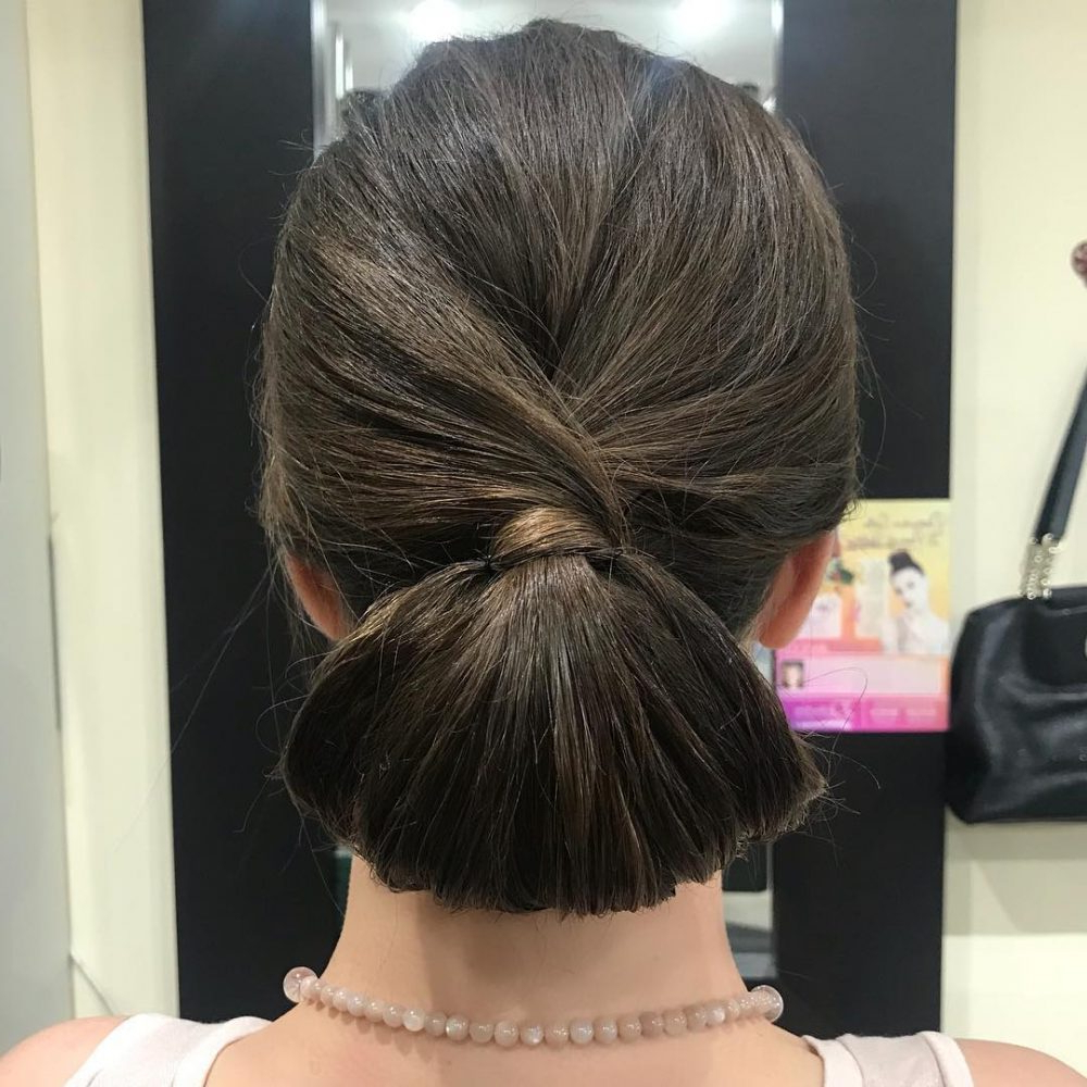 Current Looped Low Bun Hairstyles Pertaining To 21 Super Easy Updos Anyone Can Do (trending In 2019) (View 16 of 20)