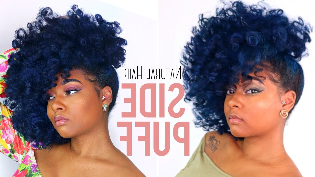 Current Pinned Up Curls Side Swept Hairstyles Within Natural Hair Big Side Swept Puff Tutorial (View 7 of 20)