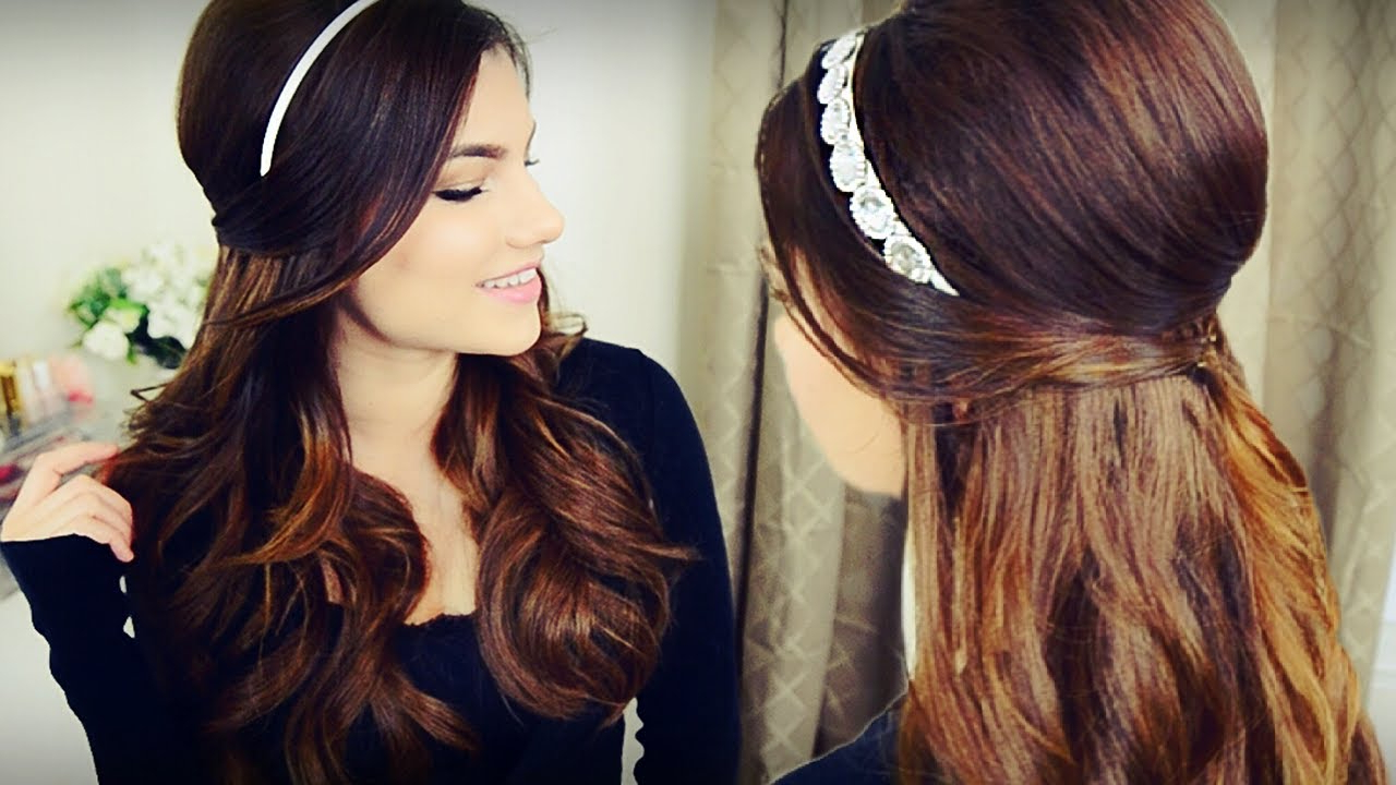 Diy Holiday Headband + Voluminous Curls With Bouffant Half Up Hairstyle For Fashionable Teased Prom Updos With Cute Headband (Gallery 6 of 20)
