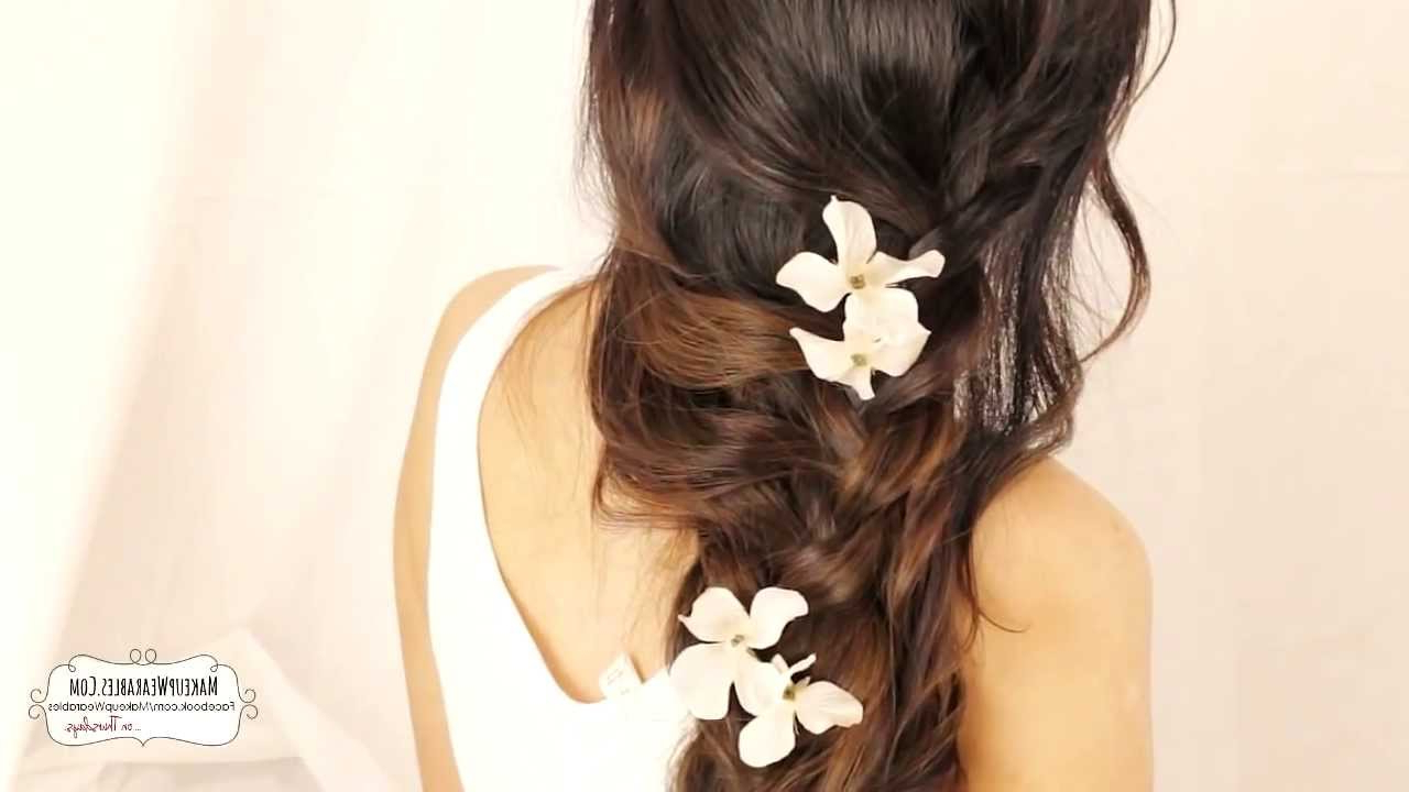 ☆ Cute Cascading Curls Braids Hairstyles For Medium Long Hair Regarding Famous Curled Floral Prom Updos (View 11 of 20)