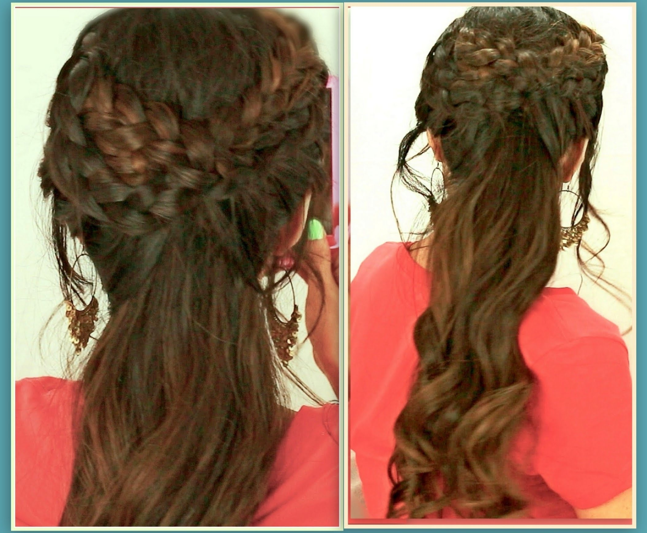 ☆Grecian Braid Hairstyles Hair Tutorial For Medium Long Hair Regarding Latest Curly Half Updo With Ponytail Braids (View 3 of 20)
