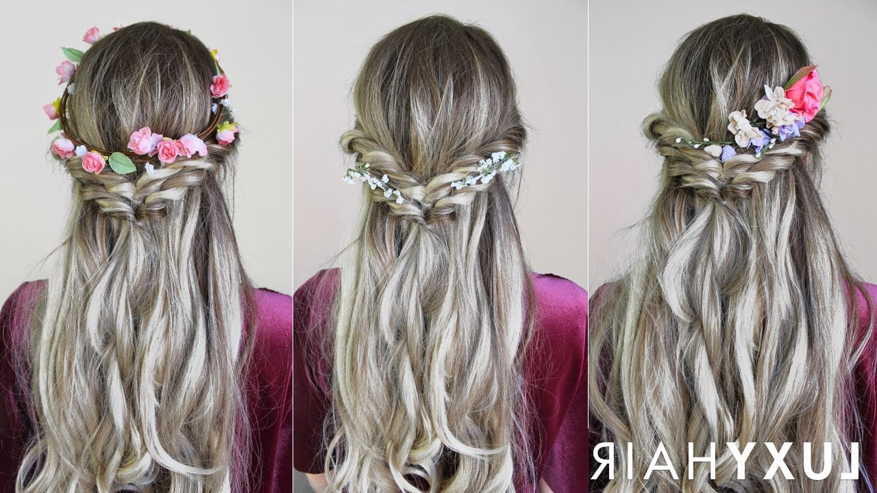Easy & Quick Hairstyle With Flowers (Perfect For Spring & Summer With Popular Floral Braid Crowns Hairstyles For Prom (Gallery 6 of 20)
