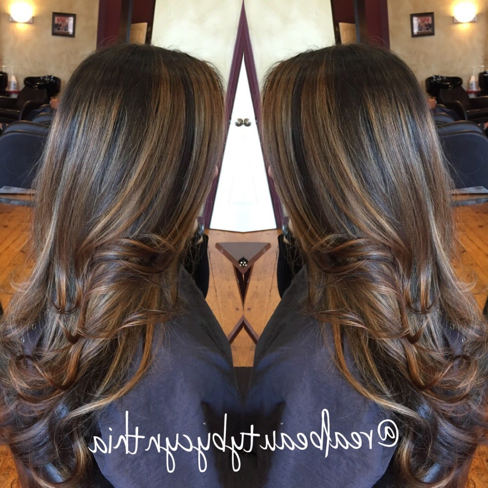 Face Framing Highlights Warm Light Caramel Tone On Dark Brown Hair Inside Most Recently Released Warm Toned Brown Hairstyles With Caramel Balayage (View 8 of 20)
