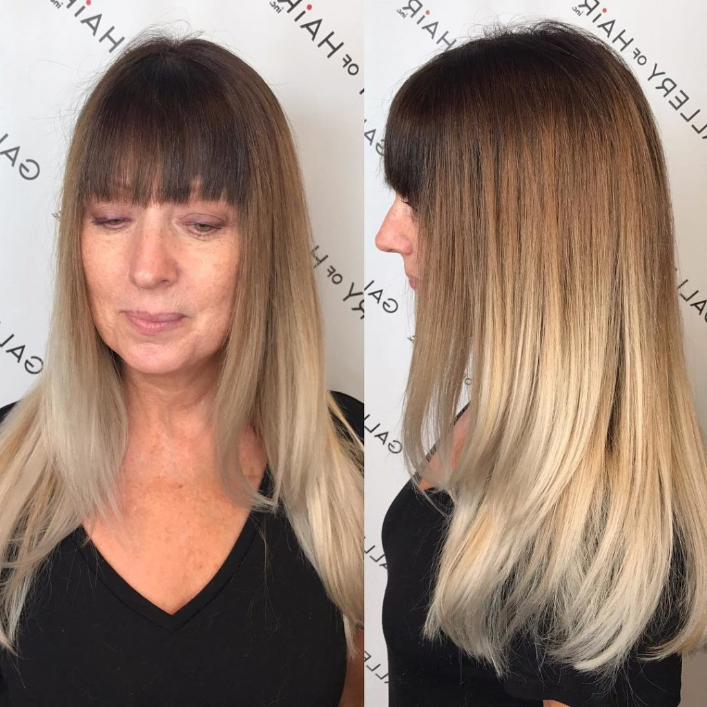 Famous Long Layered Ombre Hairstyles Regarding Women's Long Layered Cut With Blunt Bangs And Multi Tone Ombre Long (View 11 of 20)