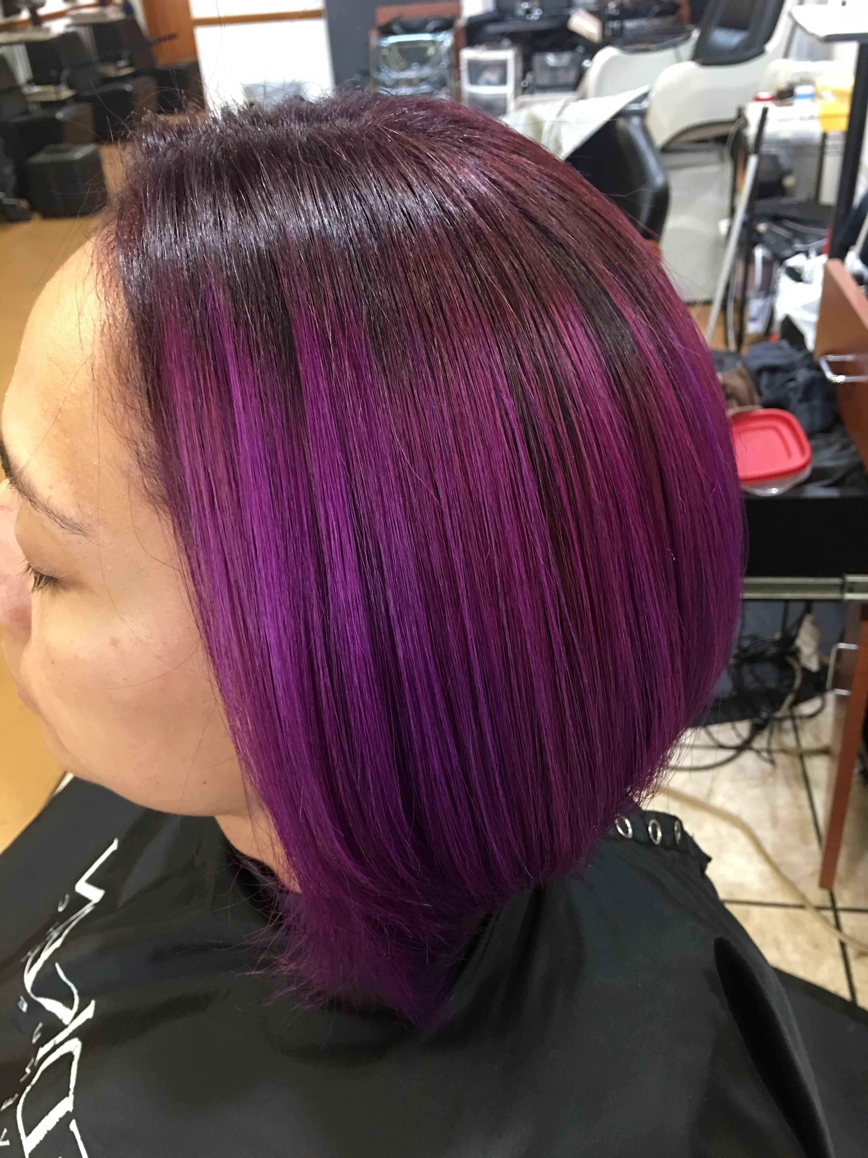 Famous Sculpted Orchid Bun Prom Hairstyles Within Wild Orchid Into Magenta Gem Haircolor@stylist Eliza (View 16 of 20)