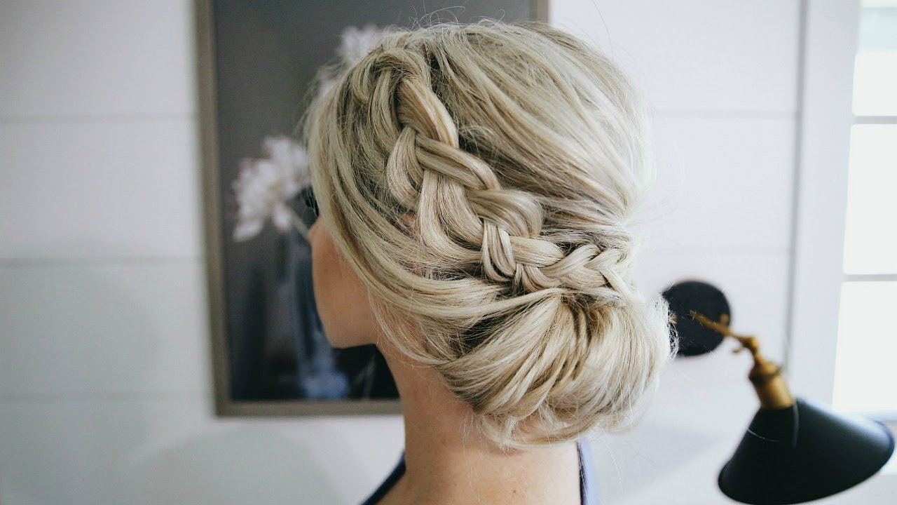 Fancy Braided Bun Updo – Simple Steps – Youtube Pertaining To Preferred Braided Chignon Prom Hairstyles (View 9 of 20)