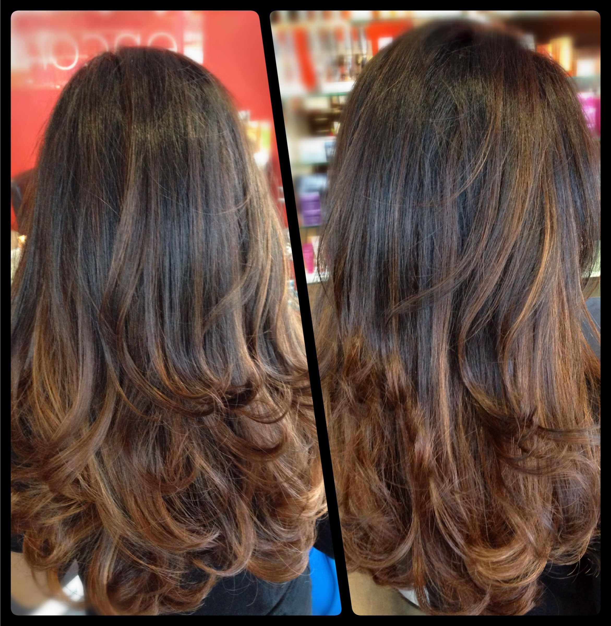 Fashionable Layered Ombre For Long Hairstyles Regarding Dark Brown To Caramel Ombré With Long Layered Haircut :) (View 13 of 20)