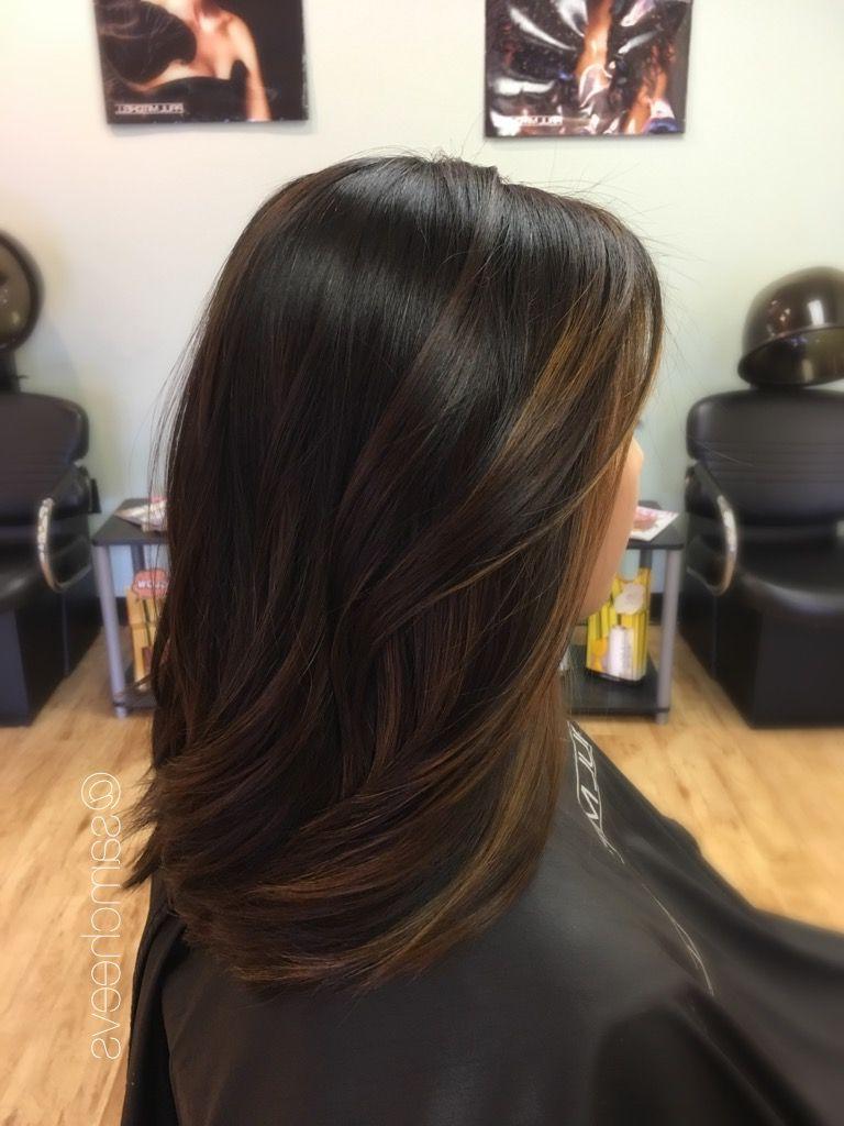 Fashionable Long Thick Black Hairstyles With Light Brown Balayage Regarding Balayage For Dark Hair // Brown Highlights For Black Hair // Asian (Gallery 6 of 20)
