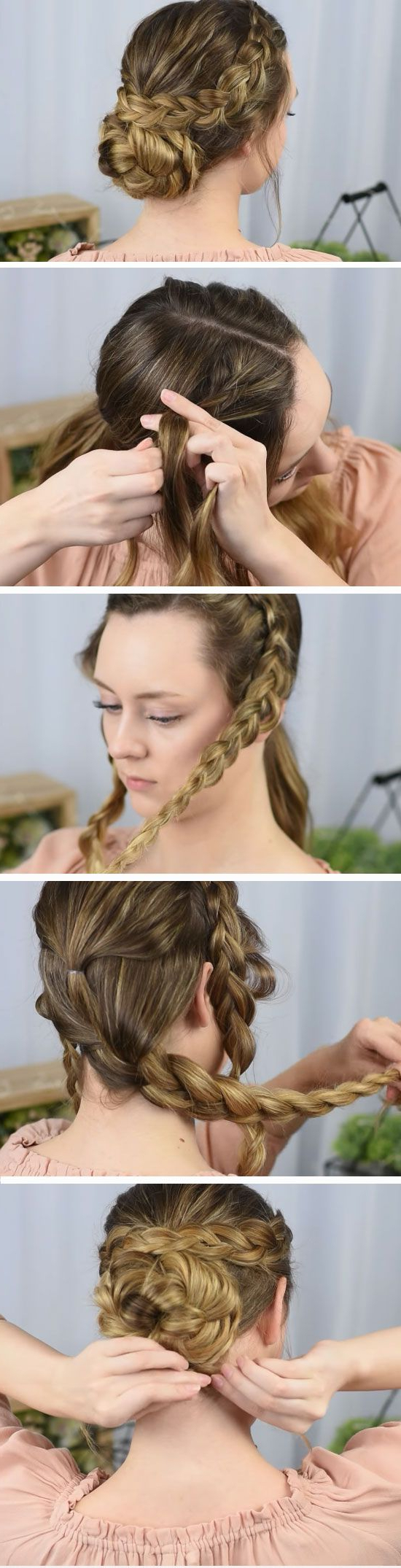 Fashionable Side Bun Twined Prom Hairstyles With A Braid Inside 15 Easy Diy Prom Hairstyles For Medium Hair (View 14 of 20)