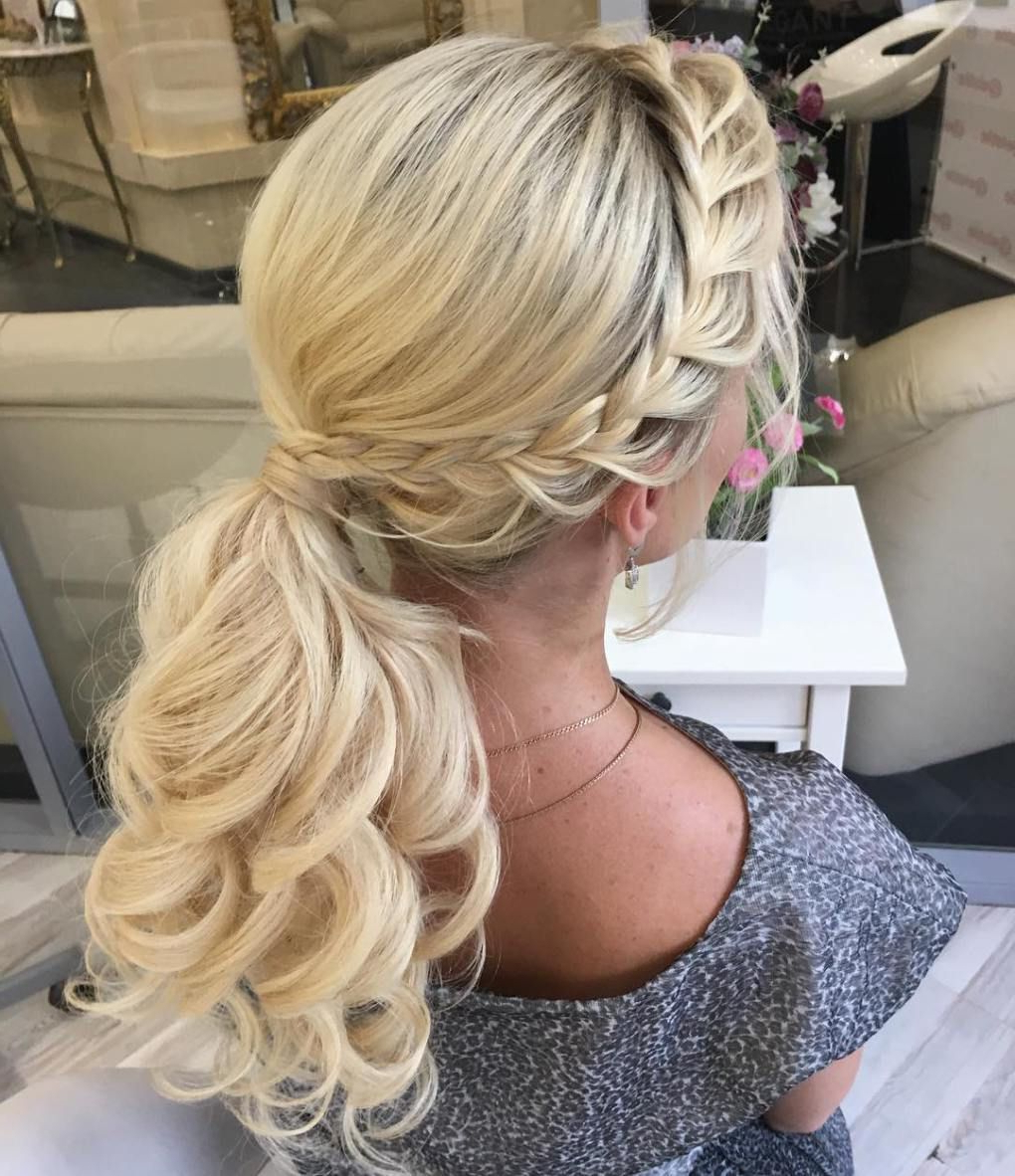 Fashionable Textured Side Braid And Ponytail Prom Hairstyles With 30 Eye Catching Ways To Style Curly And Wavy Ponytails In 2019 (Gallery 1 of 20)