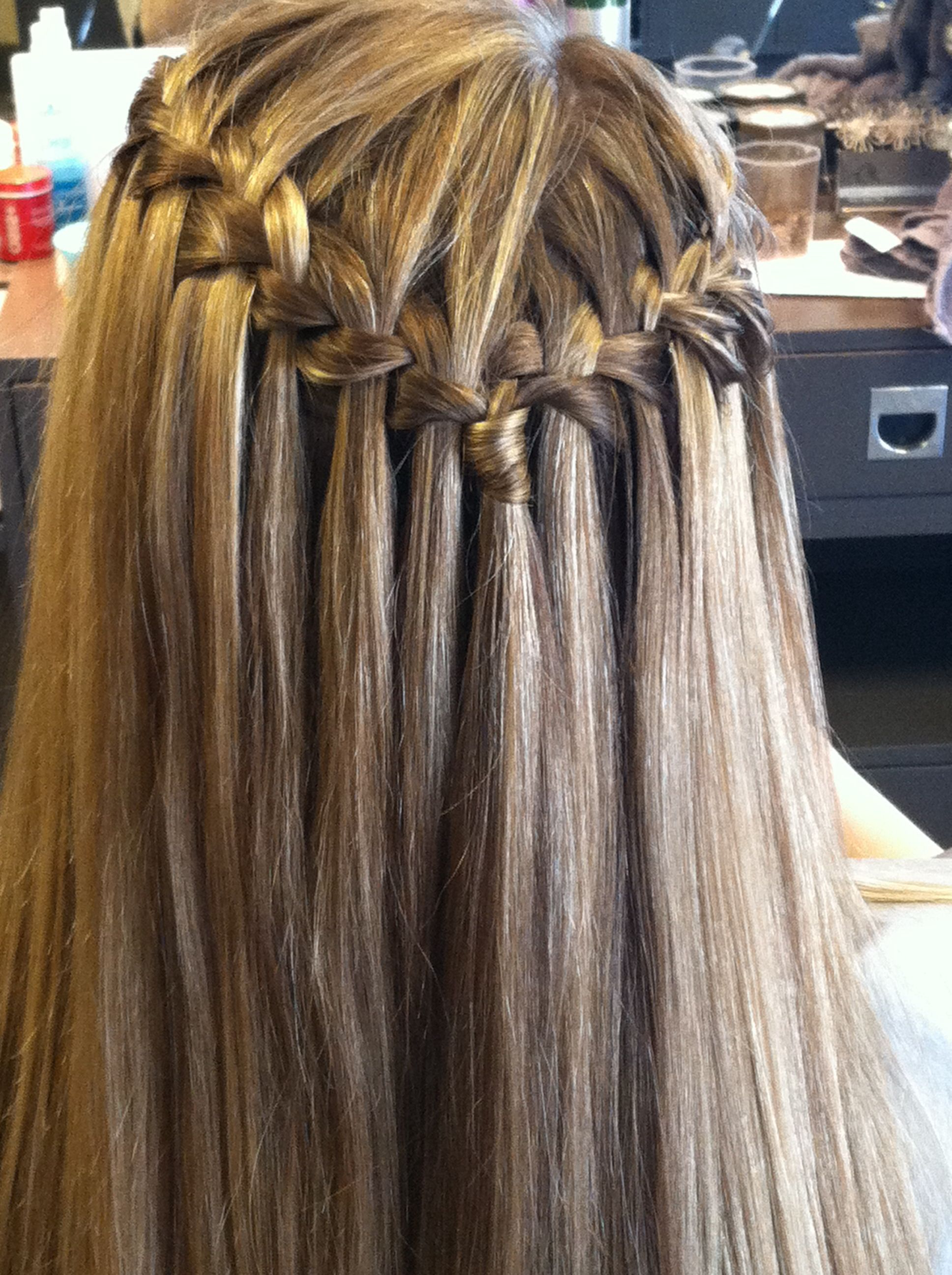 Favorite Chic Waterfall Braid Prom Updos Within Waterfall Braid With Straight Hairrachel@ Carolynlorrainesalon (View 3 of 20)