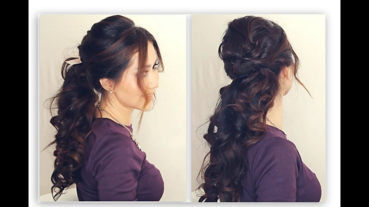 Favorite Low Curly Side Ponytail Hairstyles For Prom Inside ☆ Easy Half Up Half Down Hairstyle Tutorial (View 5 of 20)