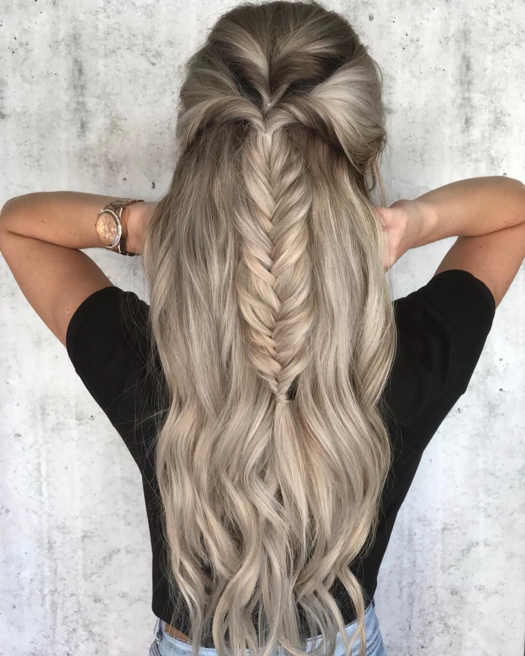 Fishtail Braided Half Throughout 2018 Braid Spikelet Prom Hairstyles (View 14 of 20)