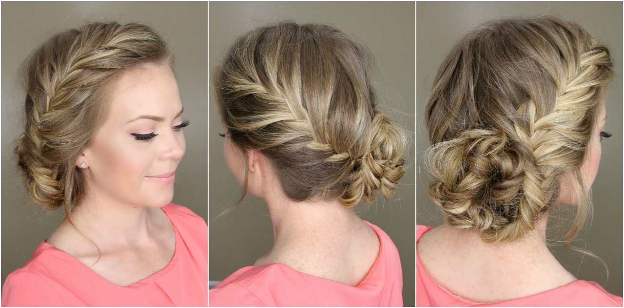 Fishtail French Braid Braided Bun – Youtube In Fashionable Spirals Side Bun Prom Hairstyles (View 12 of 20)