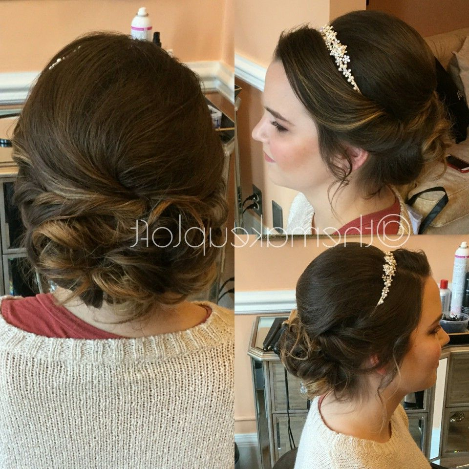 Formal Brunette Updo Teased Low Bun With Headband (Gallery 1 of 20)