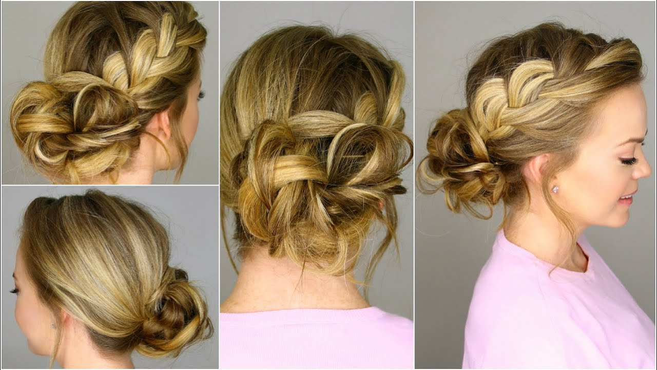 French Braid Into Messy Bun – Youtube Inside Well Known Spirals Side Bun Prom Hairstyles (View 8 of 20)