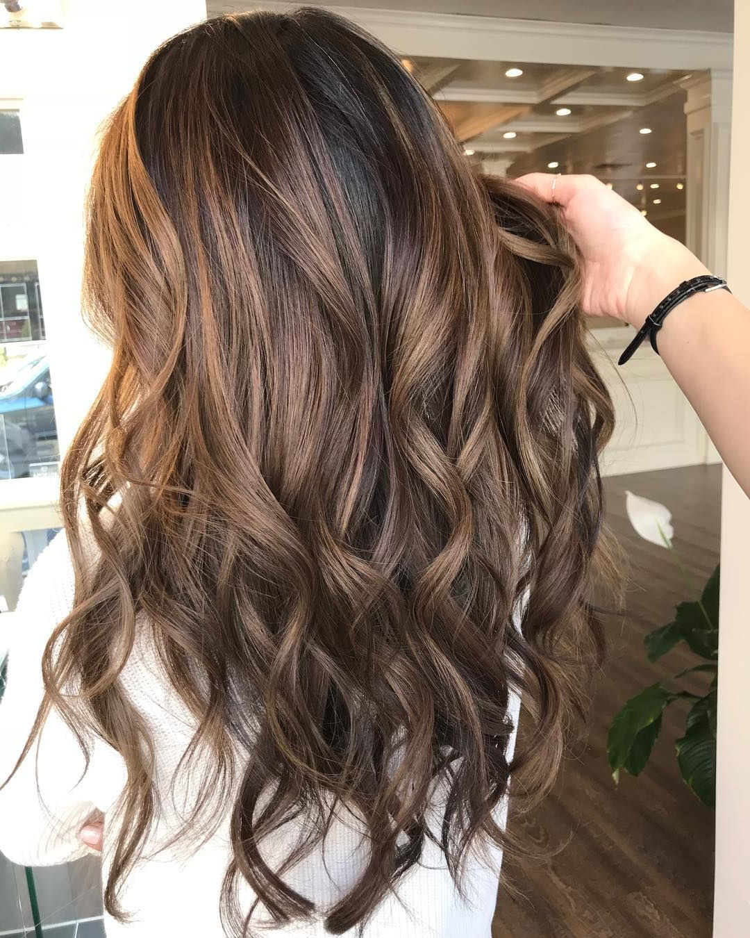 Hair Styles Inside 2018 Curly Golden Brown Balayage Long Hairstyles (View 14 of 20)