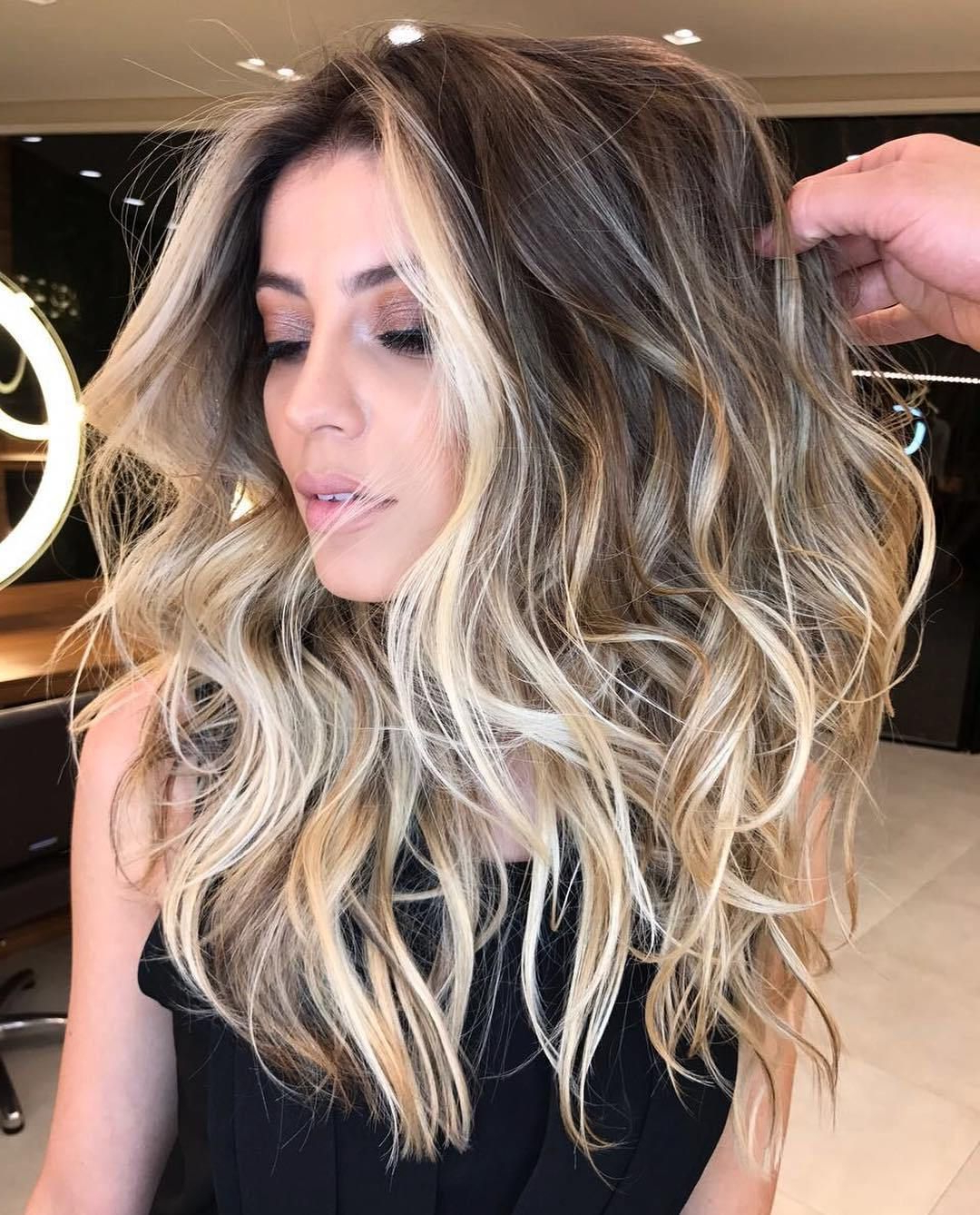 Hair Throughout Well Known Long Dark Hairstyles With Blonde Contour Balayage (View 7 of 20)