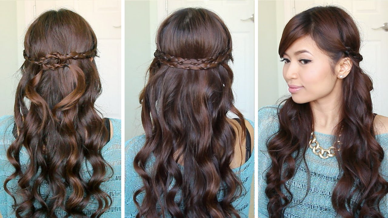 Hair Tutorial – Youtube Within Popular Half Prom Updos With Bangs And Braided Headband (View 10 of 20)