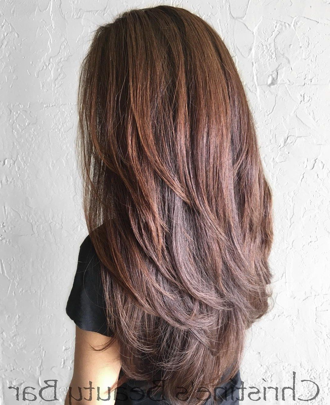 Featured Photo of Reddish Brown Hairstyles With Long V Cut Layers