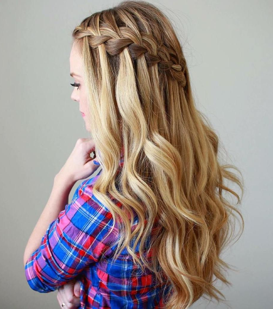 Featured Photo of Chic Waterfall Braid Prom Updos