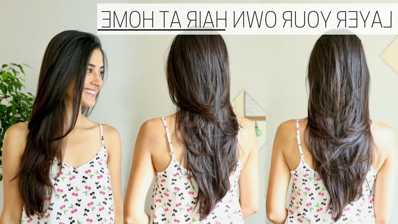How I Cut & Layer My Hair At Home » Diy Long Layers Haircut – Youtube For Favorite Reddish Brown Hairstyles With Long V Cut Layers (View 18 of 20)