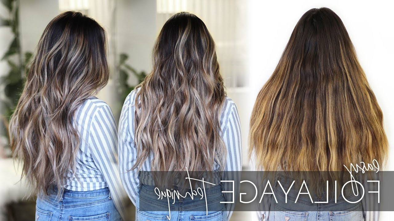 How To Balayage Dark, Long, And Thick Hair – Foilayage Hair Inside Famous Long Thick Black Hairstyles With Light Brown Balayage (View 8 of 20)