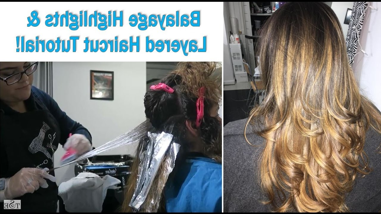 How To Balayage + Long Layered Haircut Tutorial – Youtube Pertaining To Trendy Balayage Hairstyles For Long Layers (Gallery 12 of 20)