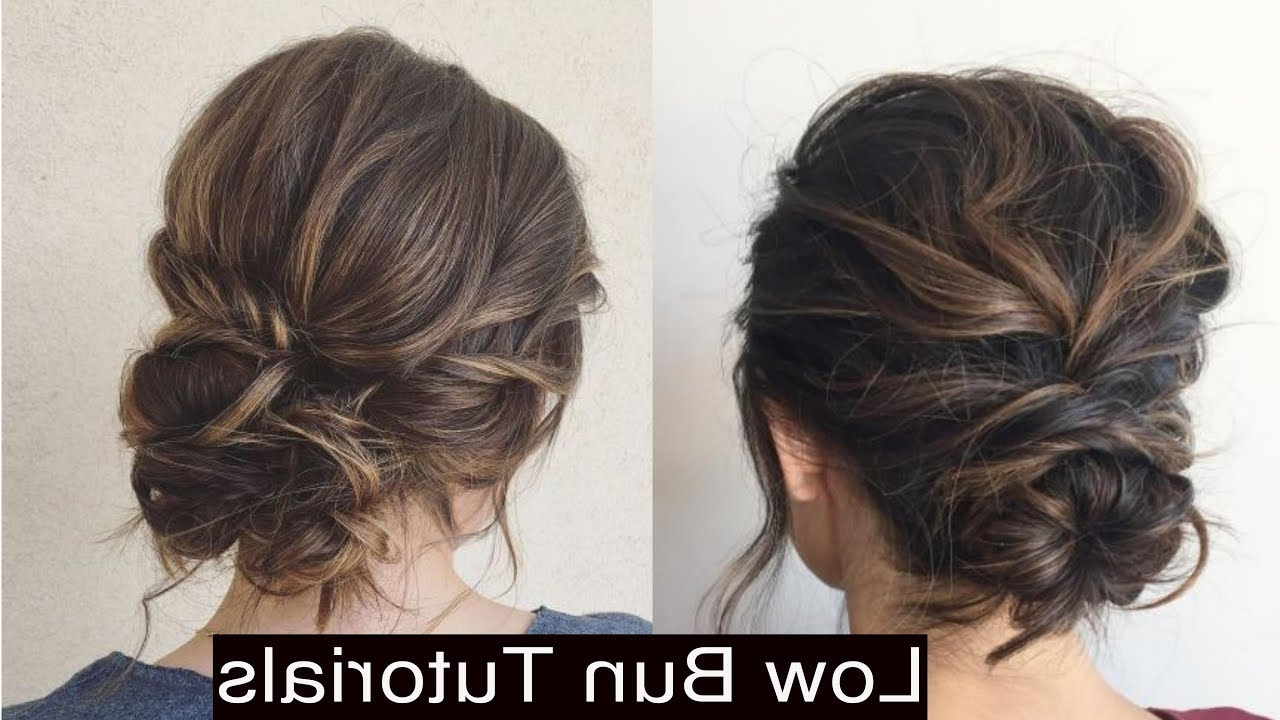 How To Style Cute Low Messy Bun Updo Hairstyles – Youtube In Most Popular Messy Twisted Chignon Prom Hairstyles (View 9 of 20)