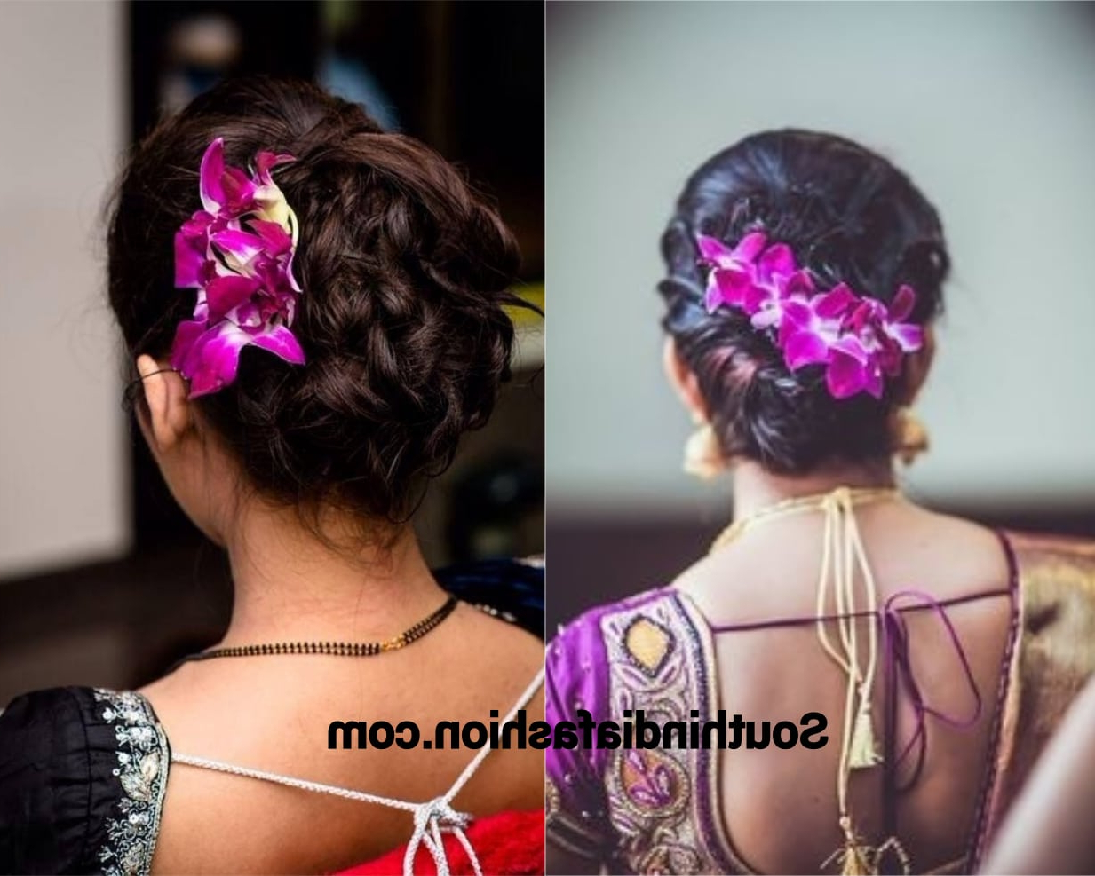 Indian Wedding Bun Hairstyle With Flowers And Gajra! Intended For Famous Side Bun Prom Hairstyles With Orchids (Gallery 7 of 20)
