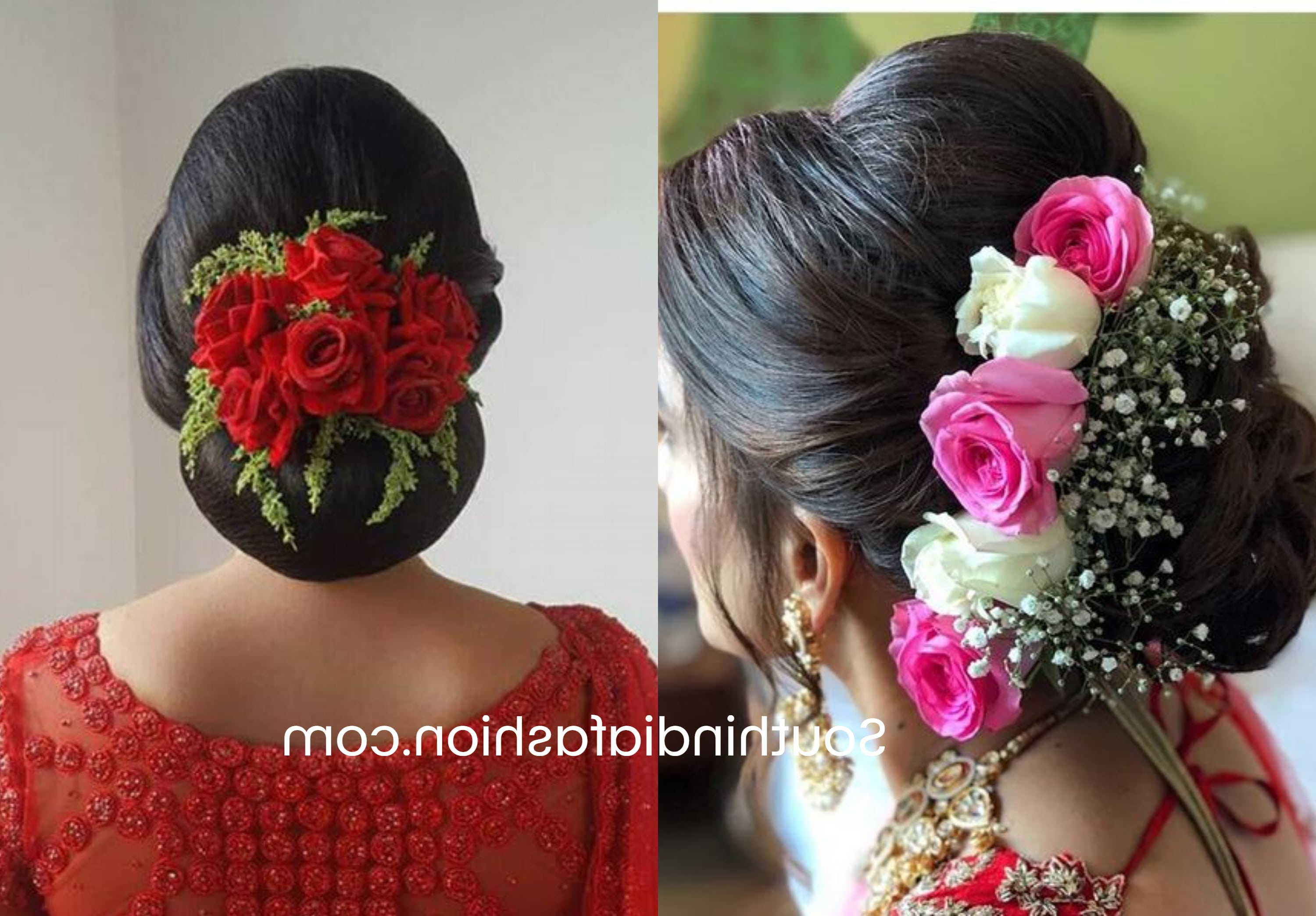 Indian Wedding Bun Hairstyle With Flowers And Gajra! Regarding Current Side Bun Prom Hairstyles With Orchids (View 7 of 20)
