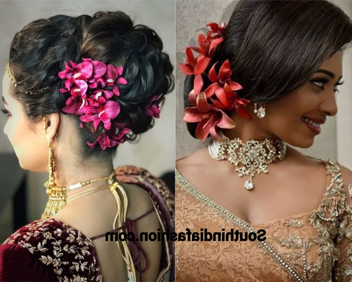 Indian Wedding Bun Hairstyle With Flowers And Gajra! Throughout Most Up To Date Side Bun Prom Hairstyles With Orchids (View 8 of 20)