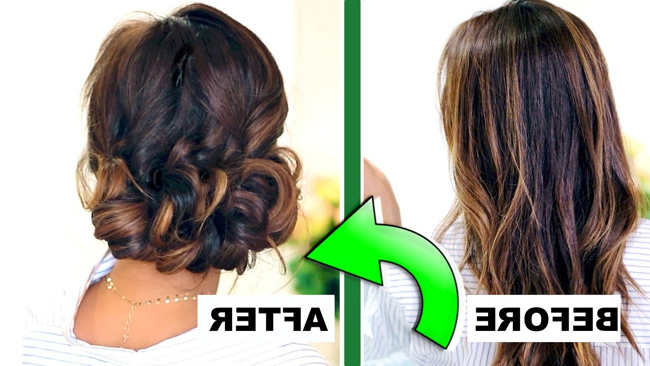 Latest Easy Curled Prom Updos Inside ☆ 3 Minute Elegant Curly Bun 👍🏽 (View 12 of 20)