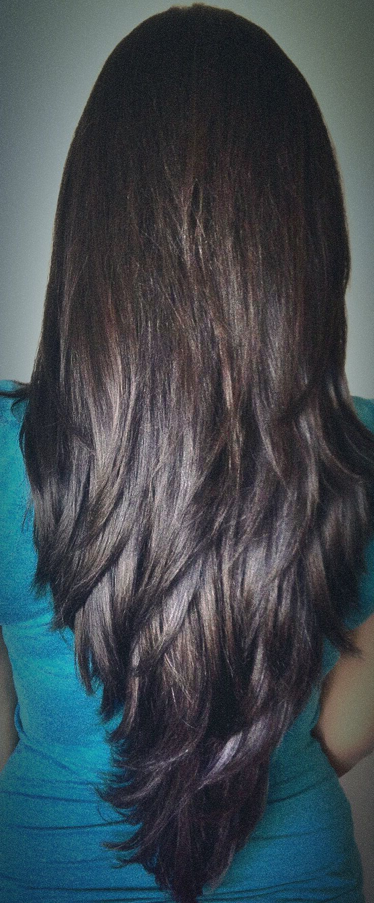 Long Layered Haircut For Thick Hair Cut In Long Distinct Layers In Famous Edgy V Line Layers For Long Hairstyles (Gallery 5 of 20)