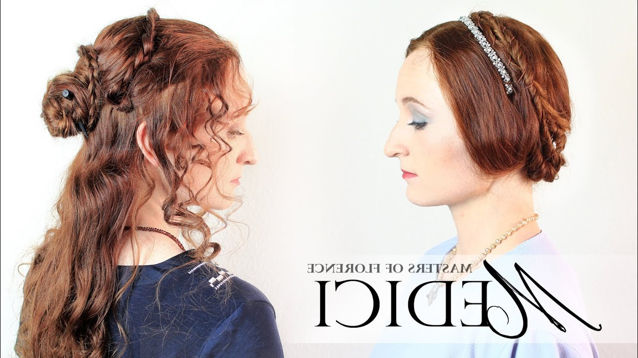Medici: Masters Of Florence – Straight And Curly Hair Tutorials From Throughout Newest Jewelled Basket Weave Prom Updos (View 5 of 20)