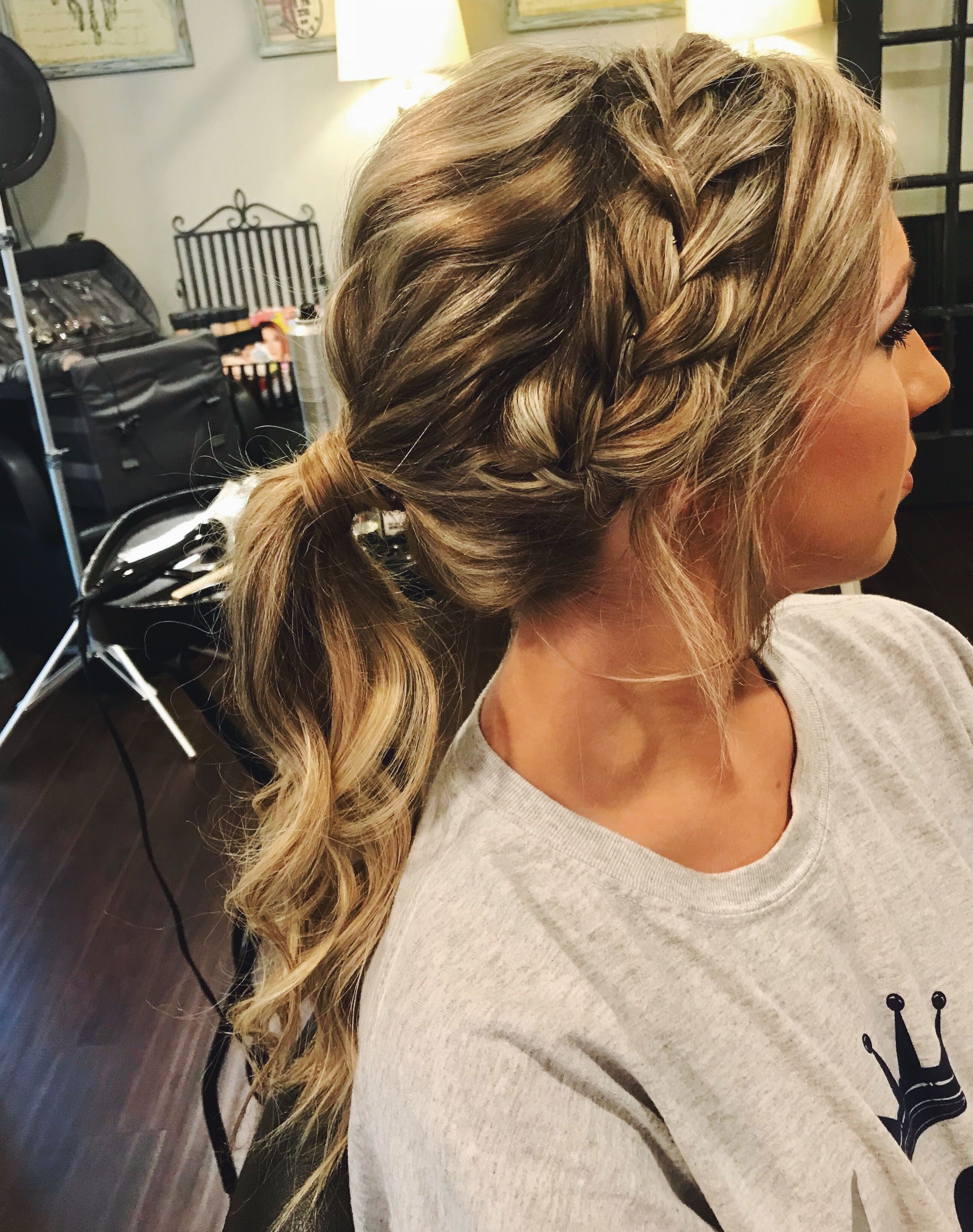 Messy Bun For Prom Hairstyle For Fashionable Textured Side Braid And Ponytail Prom Hairstyles (View 11 of 20)