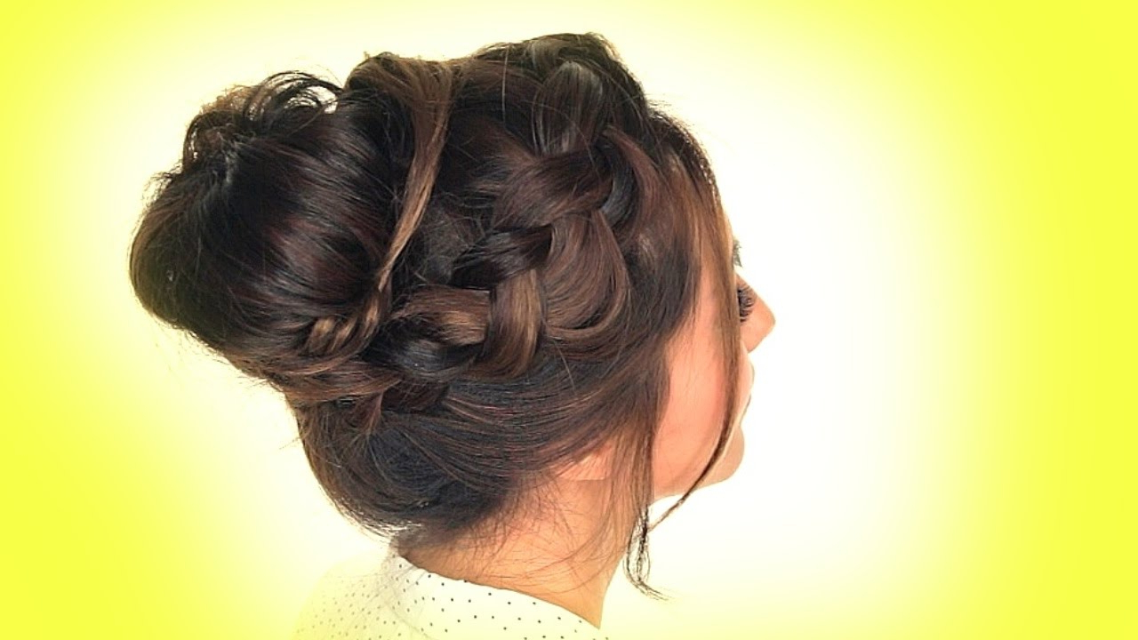 Messy Crown Braid Bun Hairstyle – Youtube (View 11 of 20)