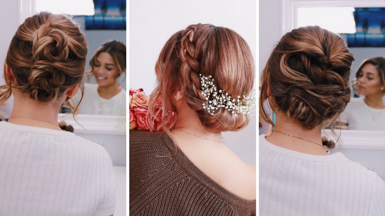 Most Current Twisted Prom Hairstyles Over One Shoulder Intended For 3 Easy Updos For Short/medium Length Hair (View 18 of 20)