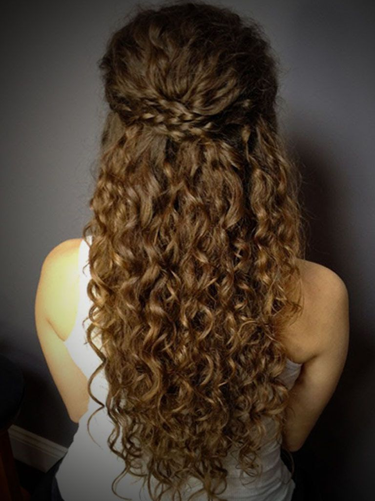 Most Popular Long Layered Half Curled Hairstyles Within Curly Hairstyles Half Up Half Down Bun (View 8 of 20)