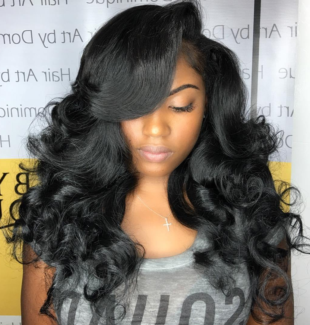 Most Popular Messy Loose Curls Long Hairstyles With Voluminous Bangs For 50 Best Eye Catching Long Hairstyles For Black Women (View 15 of 20)