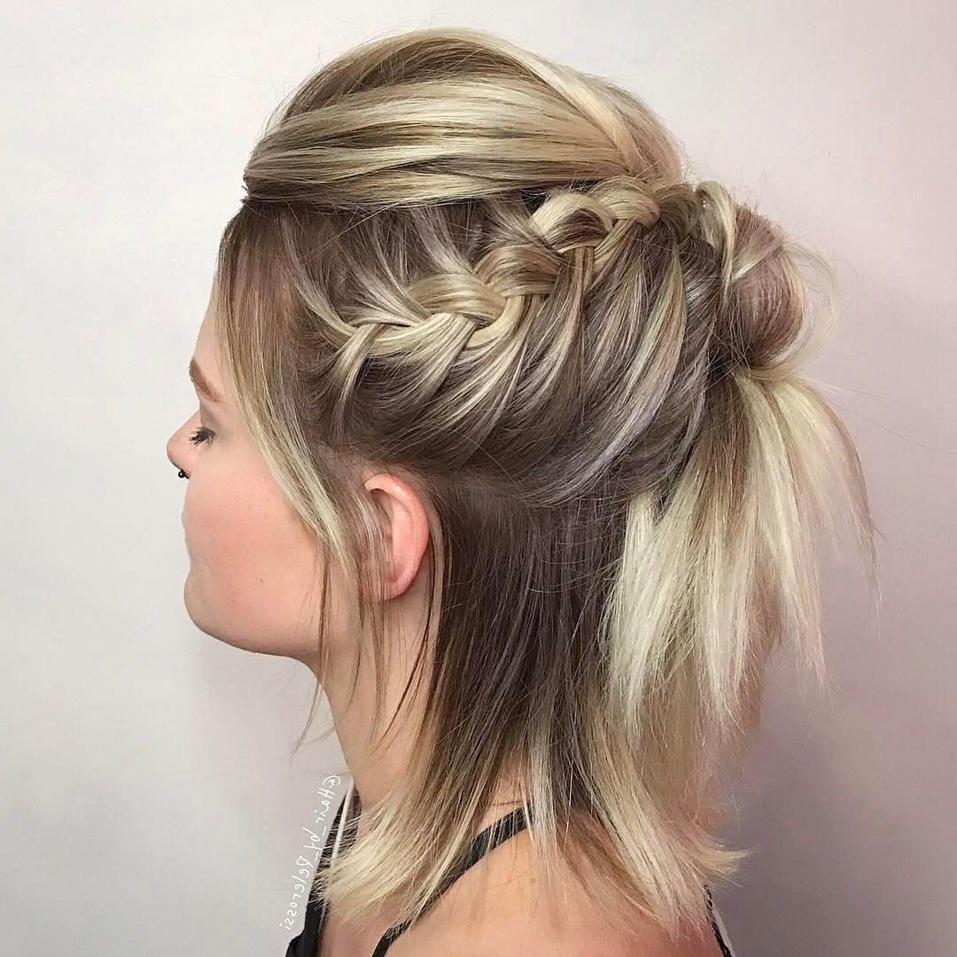 Most Recent Diagonal Braid And Loose Bun Hairstyles For Prom In 29 Swanky Braided Hairstyles To Do On Short Hair – Wild About Beauty (View 14 of 20)