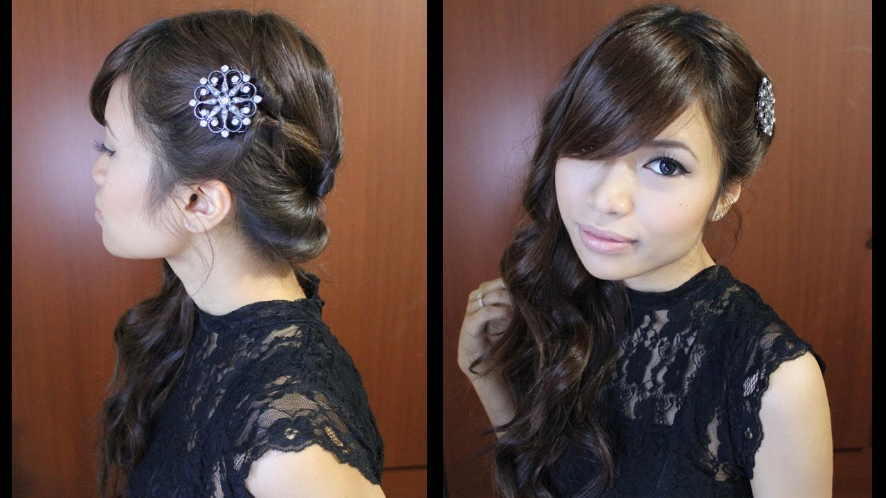 Most Recent Long And Loose Side Prom Hairstyles In Looped Side Swept Prom Hairstyle For Medium Long Hair Tutorial – Youtube (View 15 of 20)