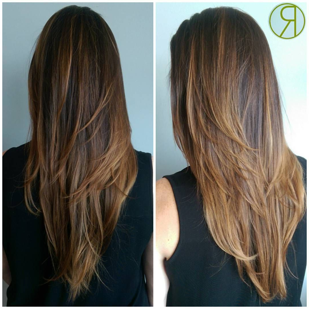 Most Recent V Cut Layers Hairstyles For Straight Thick Hair Throughout Sunkissed Caramel Highlights And Strong Layers@maria (View 14 of 20)
