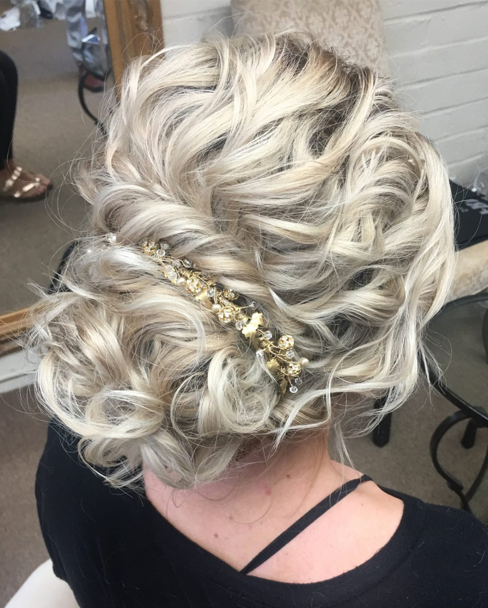 Most Recently Released Curled Floral Prom Updos Regarding 29 Curly Updos For Curly Hair (see These Cute Ideas For 2019) (View 7 of 20)
