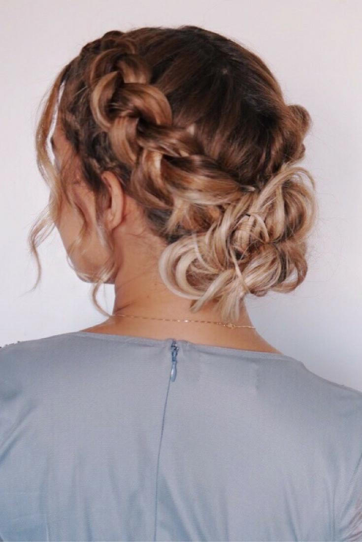 Featured Photo of Bun And Three Side Braids Prom Updos