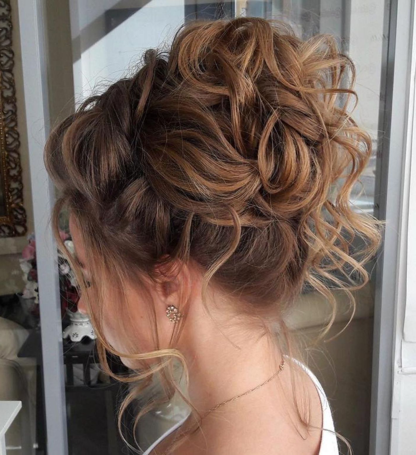 Newest Big Curly Bun Prom Updos In 40 Creative Updos For Curly Hair (View 14 of 20)