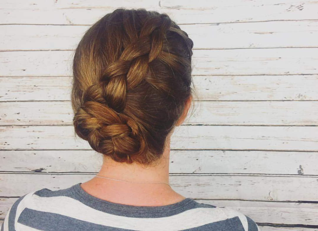 Newest Diagonal Braid And Loose Bun Hairstyles For Prom Inside 65 Super Stylish Braided Bun Hairstyle To Leave Behind Some Feminine (View 15 of 20)