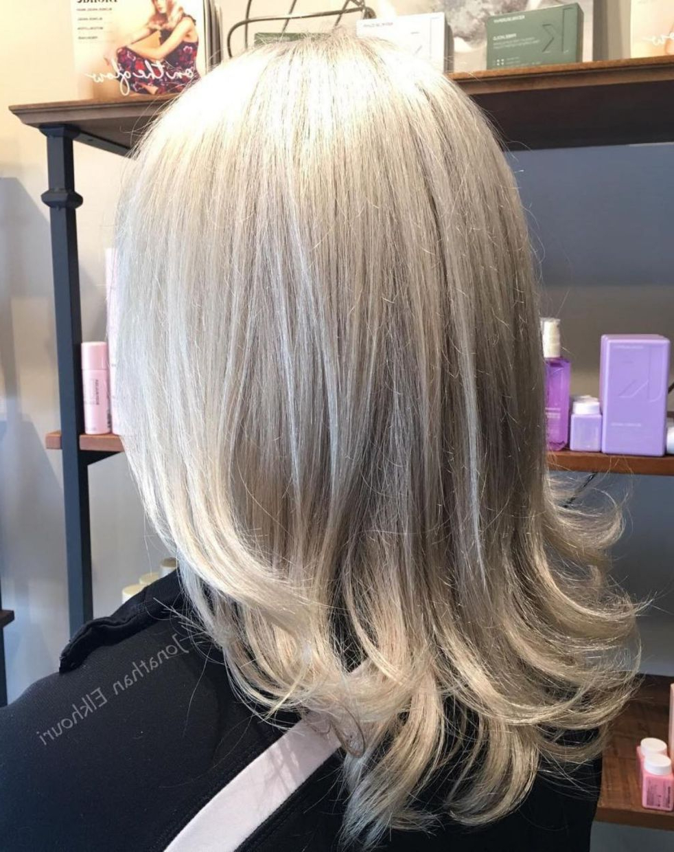Newest White Blonde Flicked Long Hairstyles For 60 Gorgeous Gray Hair Styles In (View 13 of 20)