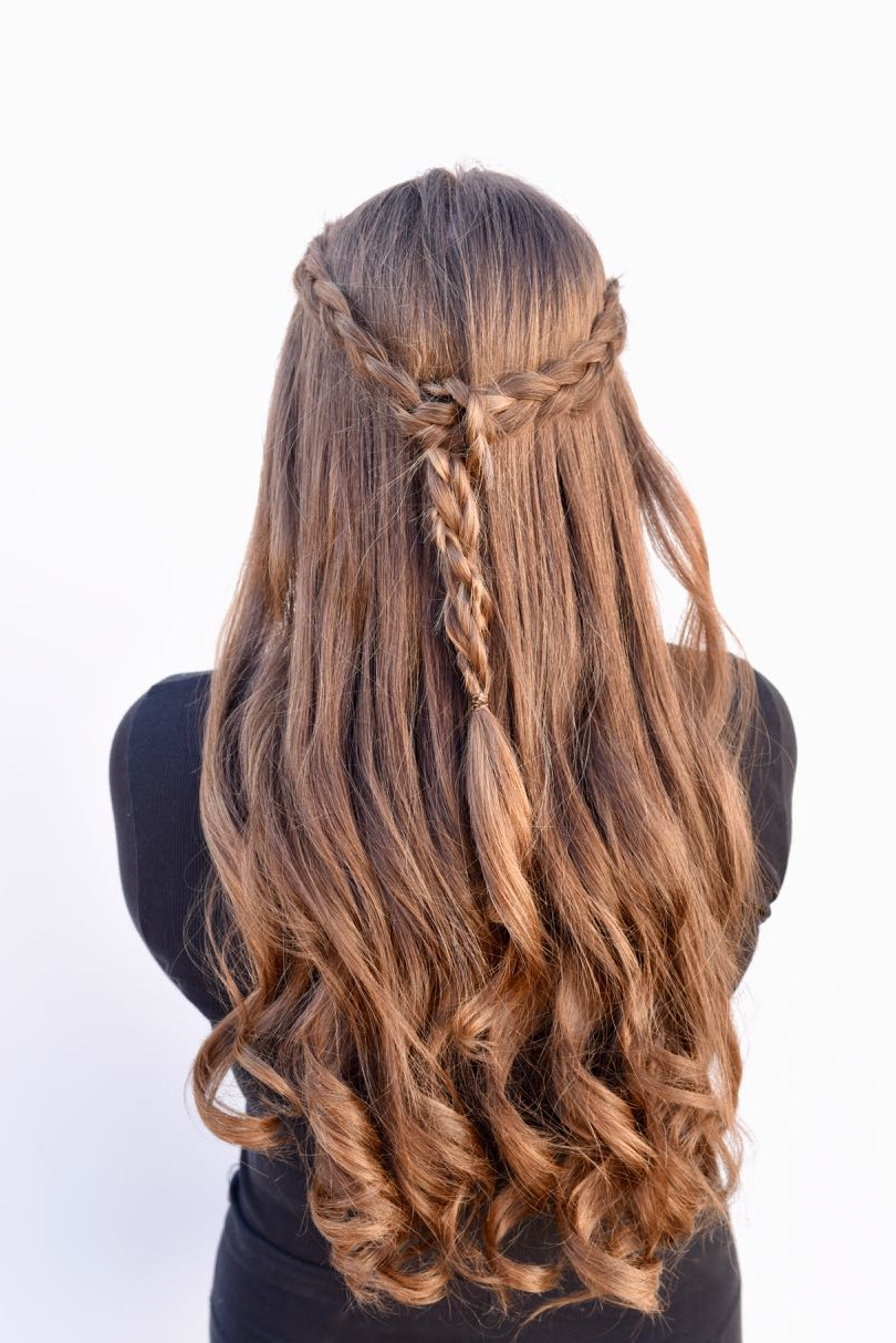 Popular Curly Half Updo With Ponytail Braids Regarding Braided Half Up Half Down Tutorial {Easy + Looks Great} (Gallery 7 of 20)