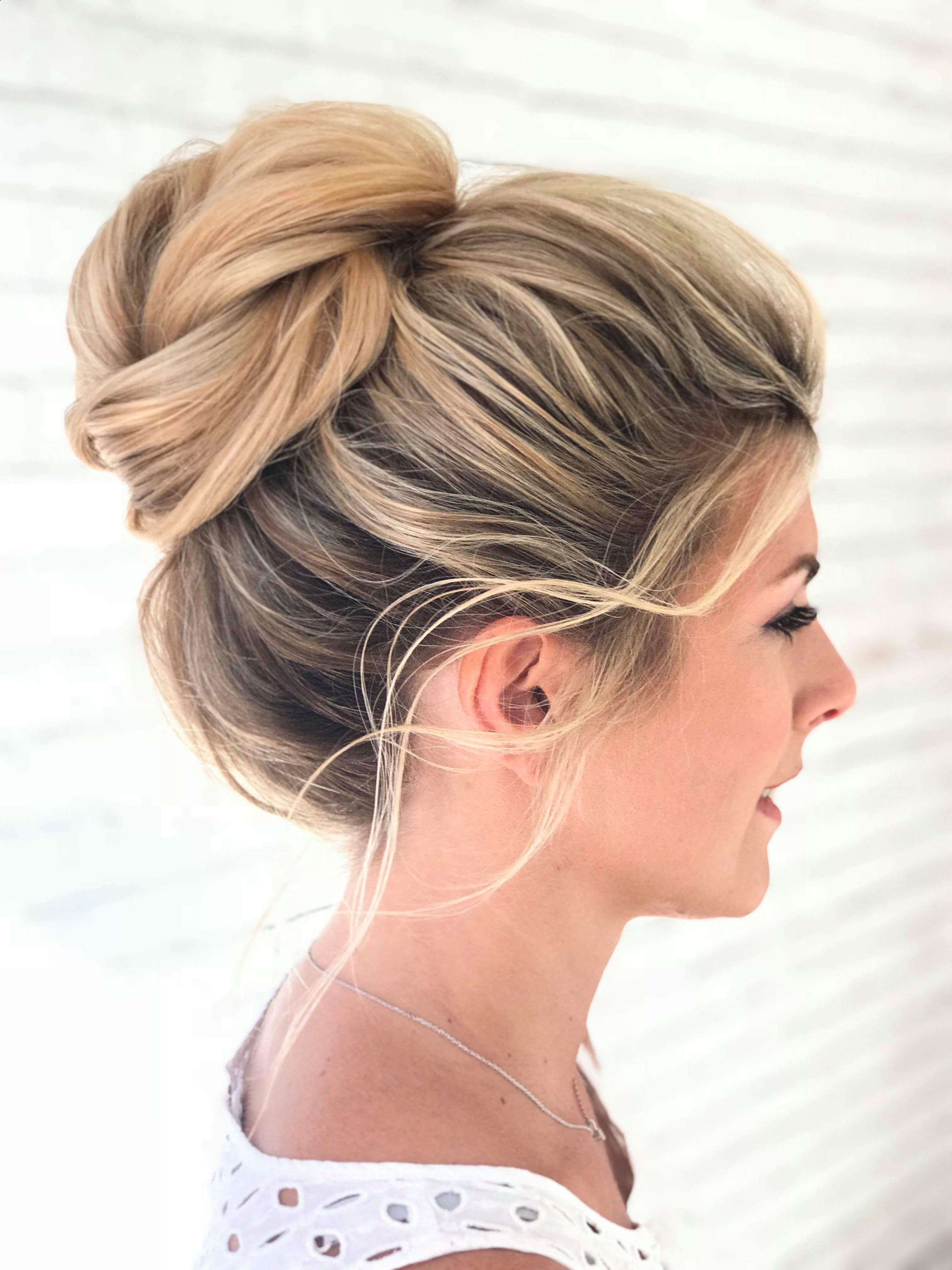 Popular Messy High Bun Prom Updos Within Messy High Bun On Blonde Highlighted Hair, Gorgeous For A Wedding (View 5 of 20)